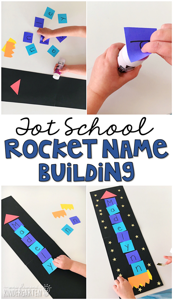 This rocket name craftivity is a fun way to practice name writing, letter recognition, and fine motor practice with a space theme. Great for tot school, preschool, or even kindergarten!