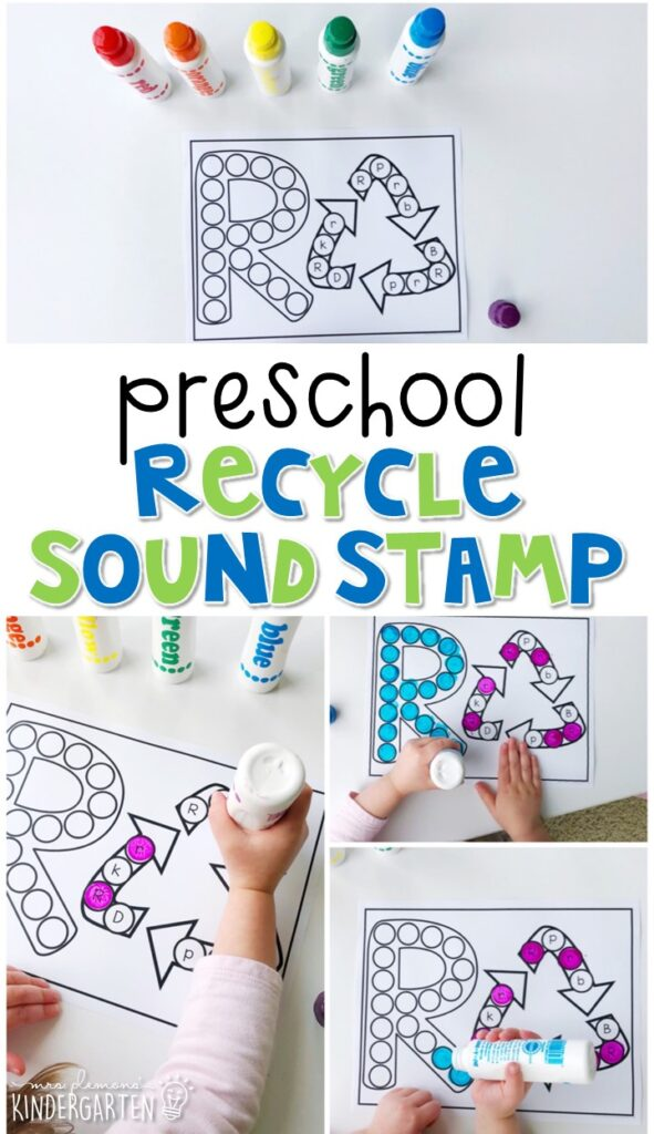 This recycling sound stamping activity is perfect for letter, sound, and fine motor practice with an Earth Day theme. Great for spring in tot school, preschool, or even kindergarten!
