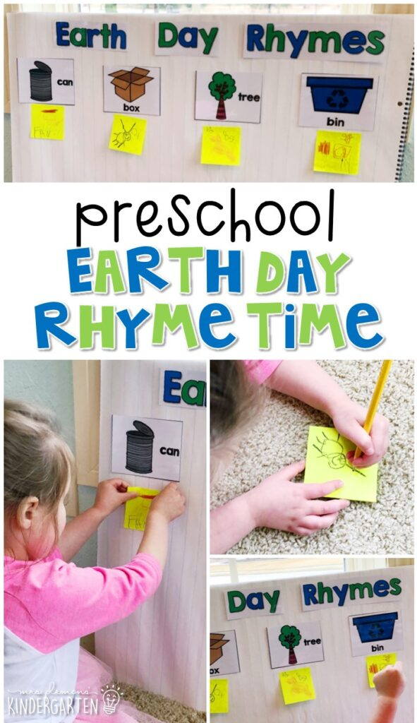 This rhyme time activity is a fun and easy way to work on rhyming with an Earth Day theme. Great for spring in tot school, preschool, or even kindergarten!