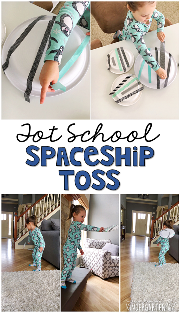 Learning is more fun when it involves movement! This spaceship toss activity was a good combination of fine motor and gross motor activity. Perfect for a space theme in tot school, preschool, or even kindergarten!