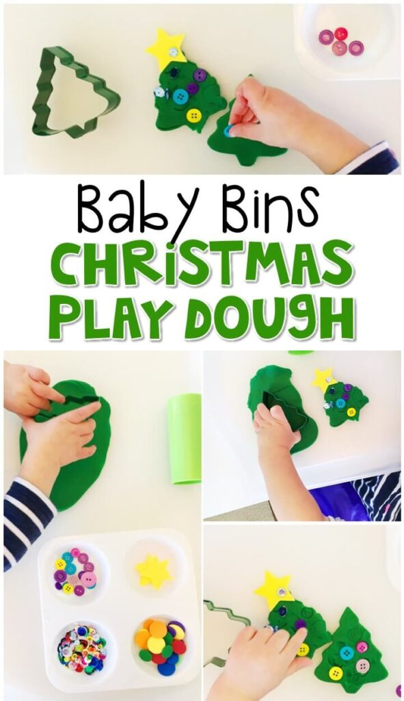 This Christmas playdough tray is great for a Christmas theme and is completely baby safe. These Baby Bin plans are perfect for learning with little ones between 12-24 months old.
