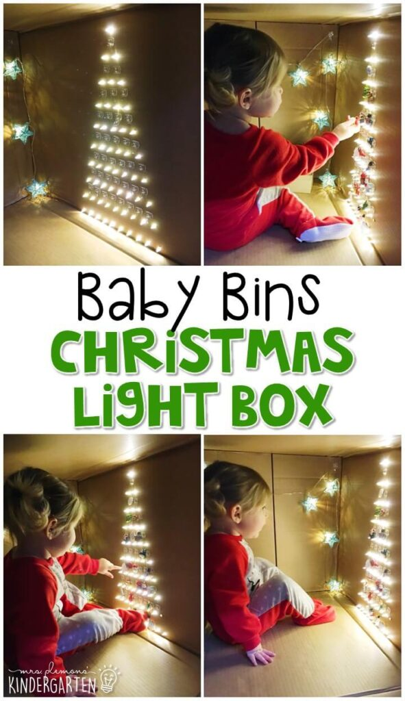 This Christmas light box is one of our absolute FAVORITE activity for a Christmas theme and is completely baby safe. These Baby Bin plans are perfect for learning with little ones between 12-24 months old.