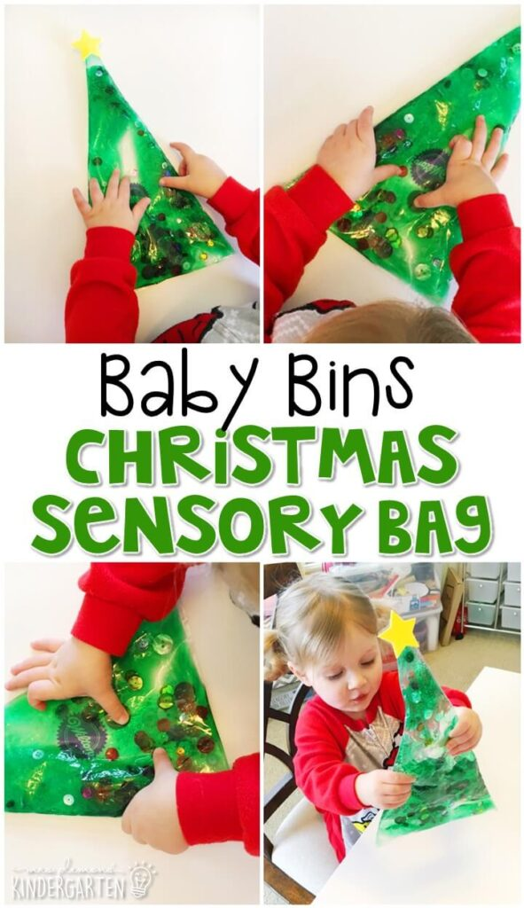 This Christmas tree sensory bag is great for a Christmas theme and is completely baby safe. These Baby Bin plans are perfect for learning with little ones between 12-24 months old.