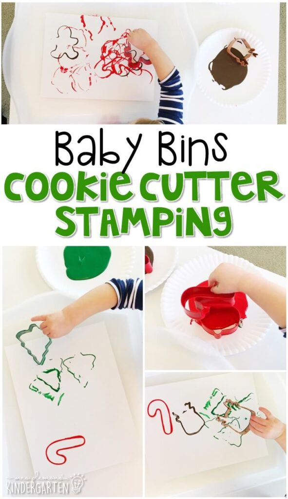 This cookie cutter stamping is great for fine motor practice and always turns out adorable. Baby Bins are perfect for learning with little ones between 12-24 months old.