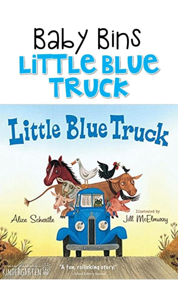 Little Blue Truck is our favorite blue themed read aloud. These Baby Bin plans are perfect for learning with little ones between 12-24 months old.