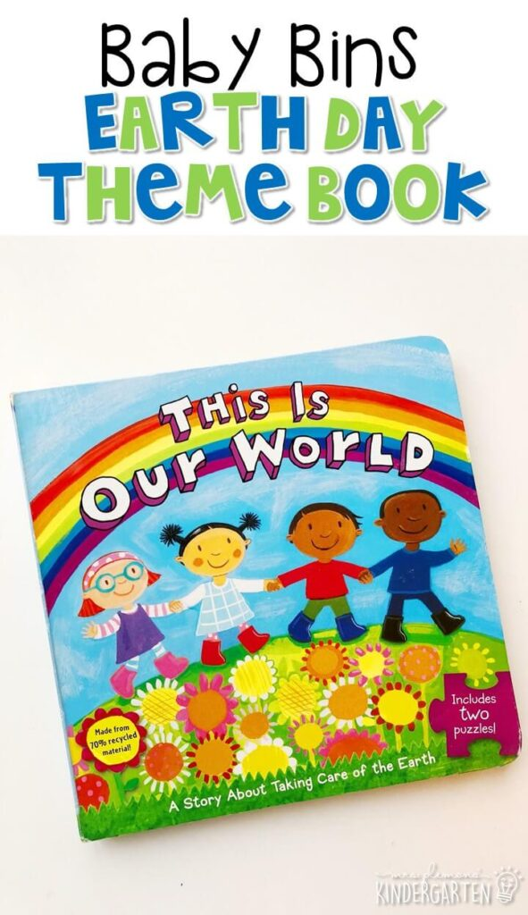 """""""This is Our World"""" by Emily Sollinger is a great simple book about taking care of our Earth, this book also include a fun puzzle for little ones to complete. These Baby Bin plans are perfect for learning with little ones between 12-24 months old."""