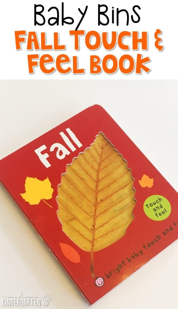 This fall touch and feel book is our favorite fall themed read aloud. These Baby Bin plans are perfect for learning with little ones between 12-24 months old.