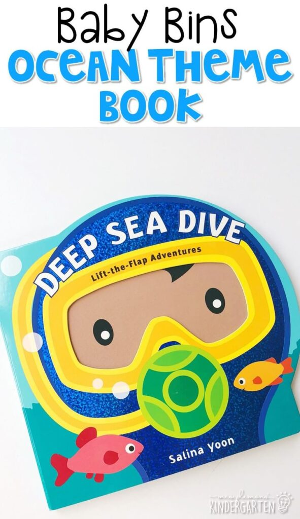 """Each page in """"Deep Sea Dive"""" by Salina Yoon has a brightly colored illustration and name of an ocean animal. When you lift the flap a short poem gives a bit more information about that animal. I love that this book gives just a bit more info than a typical board book. These Baby Bin plans are perfect for learning with little ones between 12-24 months old."""