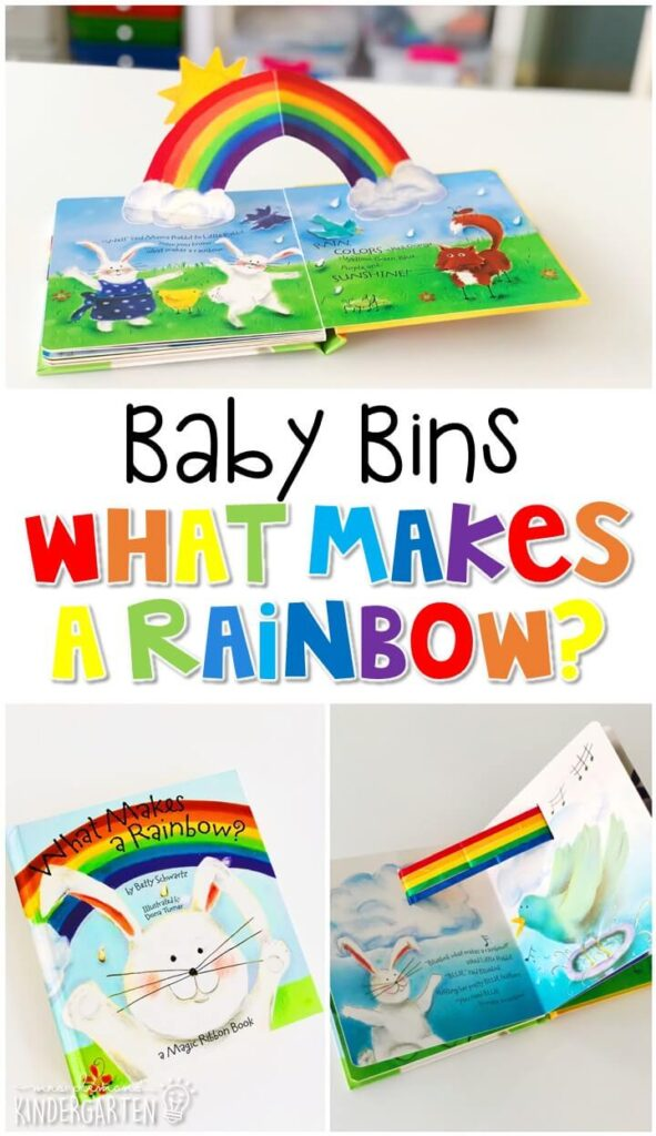 What makes a Rainbow? is a fun interactive book that reviews all of the colors of the rainbow. These Baby Bin plans are perfect for learning with little ones between 12-24 months old.