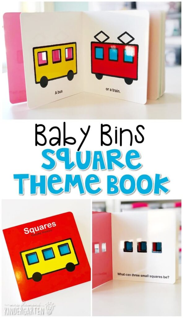 Squares by Yusuke Yonezu is a great book for introducing not only shapes, but also for reviewing colors and numbers. These Baby Bin plans are perfect for learning with little ones between 12-24 months old.