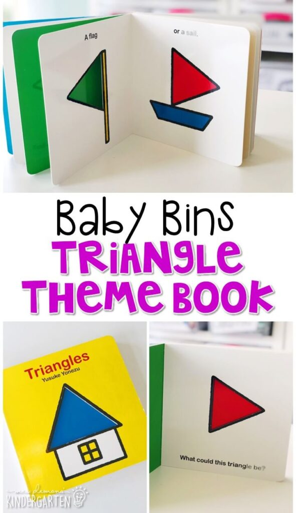 Triangles by Yusuke Yonezu is a great book for introducing shapes, and also for reviewing colors and numbers. These Baby Bin plans are perfect for learning with little ones between 12-24 months old.