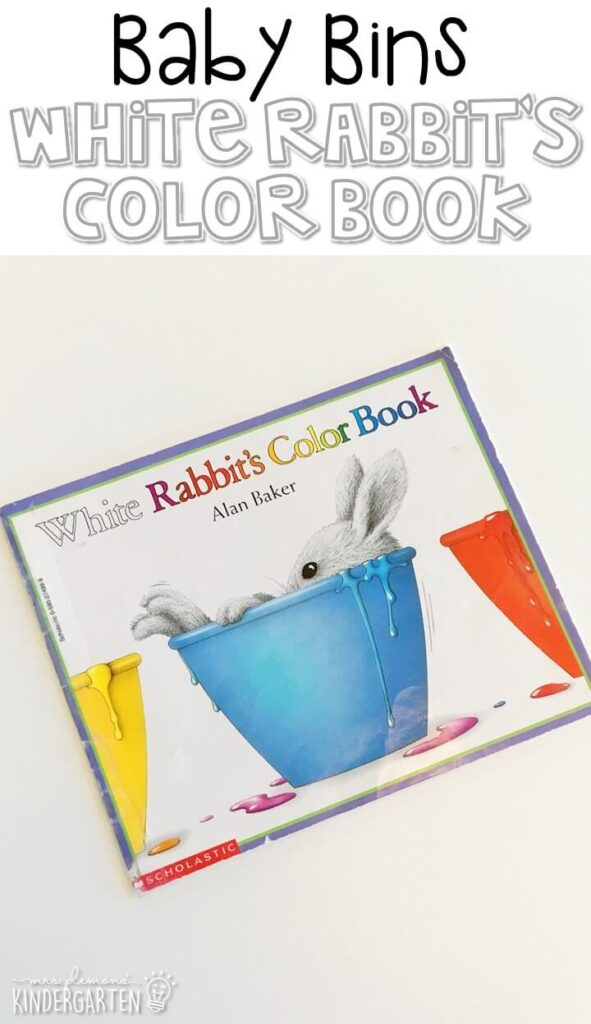 White Rabbit's Color Book by Alan Baker is one of our favorite white themed read alouds. These Baby Bin plans are perfect for learning with little ones between 12-24 months old.