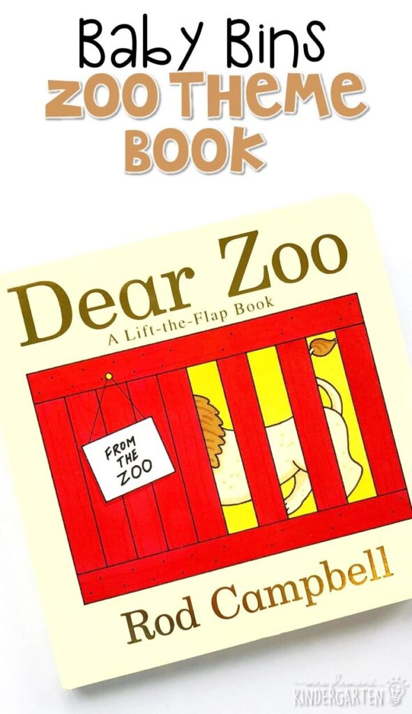 """""""Dear Zoo"""" by Rod Campbell is a well loved staple in our board book collection. With adorable animals, flaps to lift, and a surprise ending I'm sure your little ones will love this book just as much as we do. These Baby Bin plans are perfect for learning with little ones between 12-24 months old."""