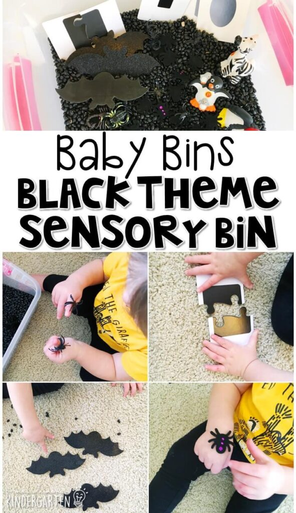 This black themed sensory bin is great for learning colors and is completely baby safe. These Baby Bin plans are perfect for learning with little ones between 12-24 months old.