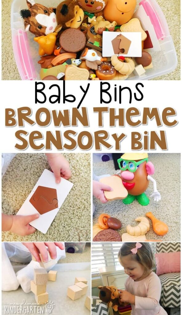This brown themed sensory bin is great for learning colors and is completely baby safe. These Baby Bin plans are perfect for learning with little ones between 12-24 months old.