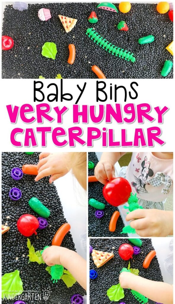 This very hungry caterpillar sensory bin is great for retelling the story and is completely baby safe. These Baby Bin plans are perfect for learning with little ones between 12-24 months old.