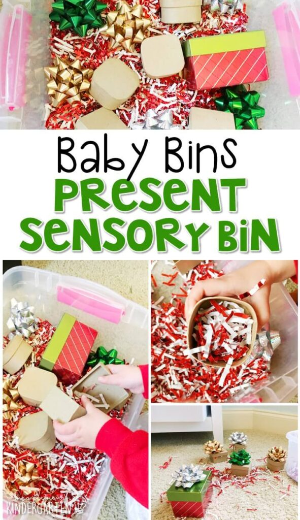 This Christmas Present themed sensory bin is great for learning about the season and is completely baby safe. These Baby Bin plans are perfect for learning with little ones between 12-24 months old.