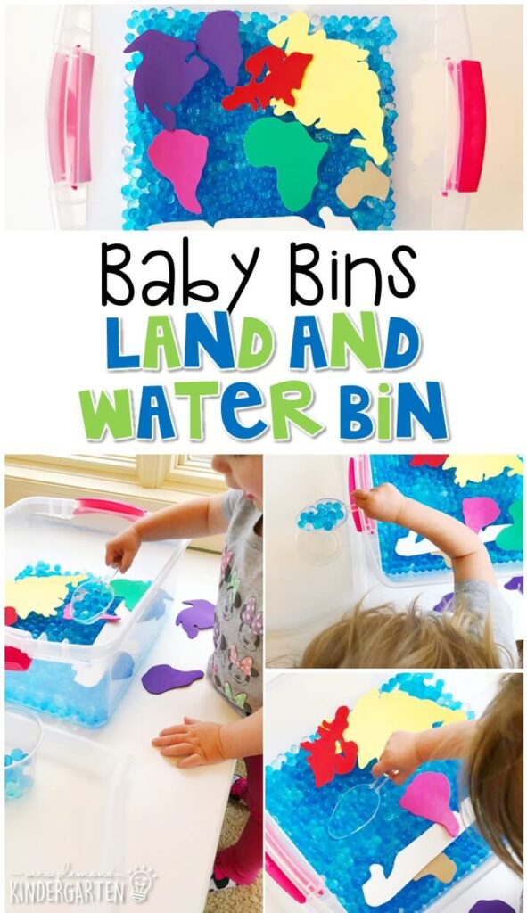 This land and water sensory bin is great for learning about the Earth and is completely baby safe. These Baby Bin plans are perfect for learning with little ones between 12-24 months old.