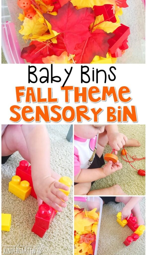 This fall themed sensory bin is great for learning about the season and is completely baby safe. These Baby Bin plans are perfect for learning with little ones between 12-24 months old.