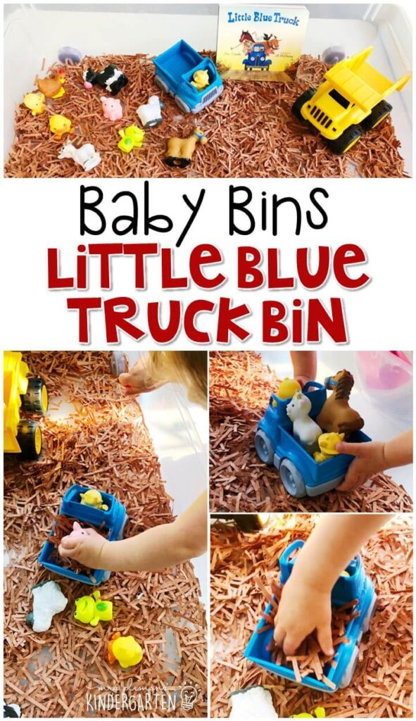 This little blue truck sensory bin is so much fun to pretend and play with while retelling the story and is completely baby safe. These Baby Bin plans are perfect for learning with little ones between 12-24 months old.