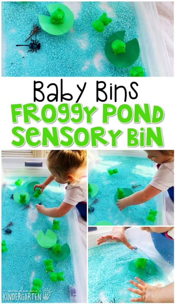 This froggy pond sensory bin is great for learning about frogs and is completely baby safe. These Baby Bin plans are perfect for learning with little ones between 12-24 months old.
