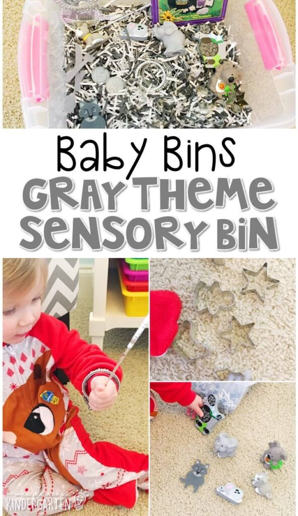 This gray themed sensory bin is great for learning colors and is completely baby safe. These Baby Bin plans are perfect for learning with little ones between 12-24 months old.