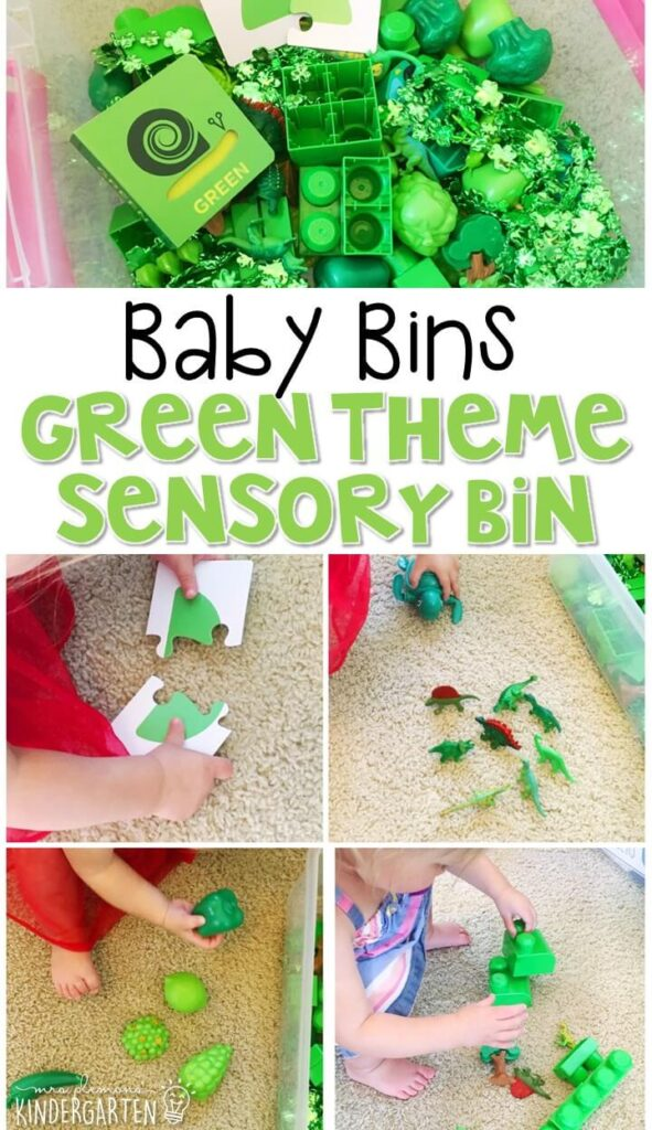 This green themed sensory bin is great for learning colors and completely baby safe. These Baby Bin plans are perfect for learning with little ones between 12-24 months old.