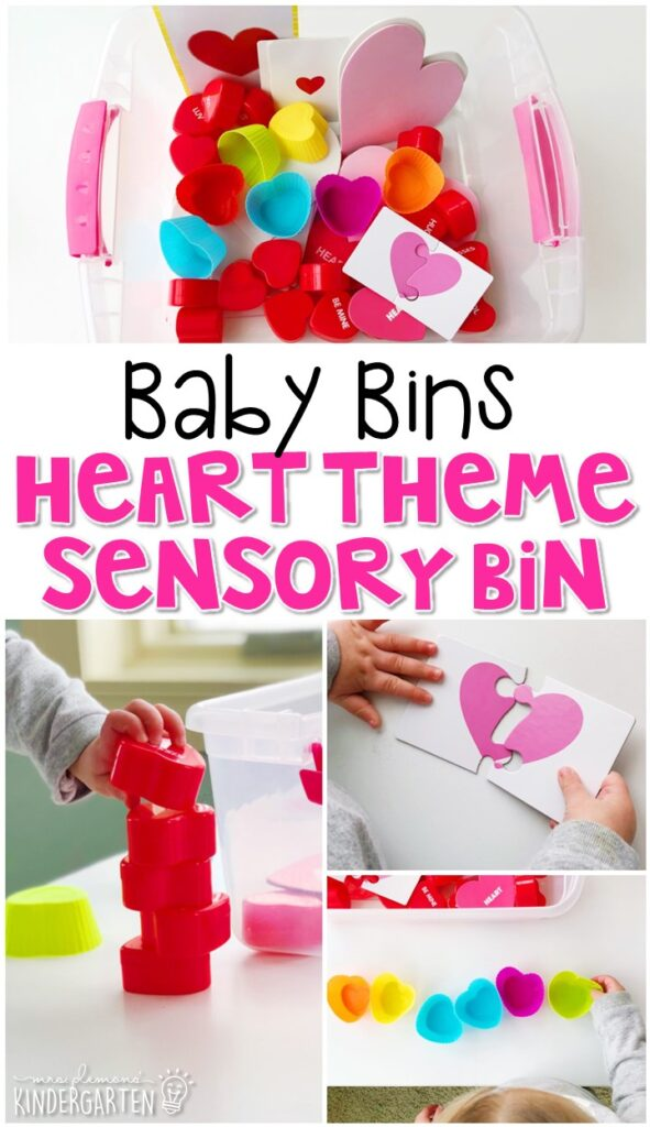 This heart themed sensory bin is great for exploring shapes and is completely baby safe. These Baby Bin plans are perfect for learning with little ones between 12-24 months old.