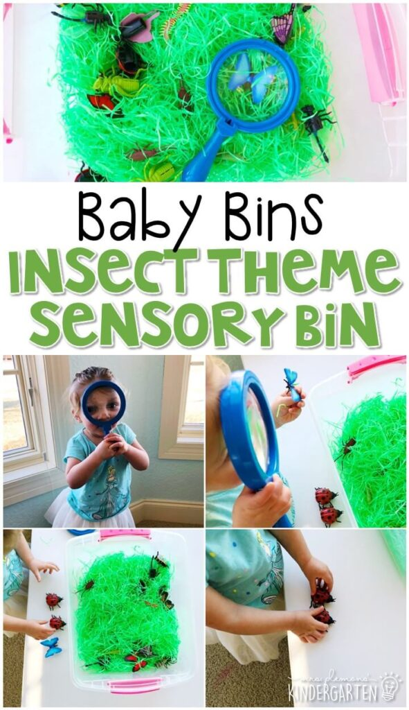 This insect themed sensory bin is great for learning about insects and is completely baby safe. These Baby Bin plans are perfect for learning with little ones between 12-24 months old.