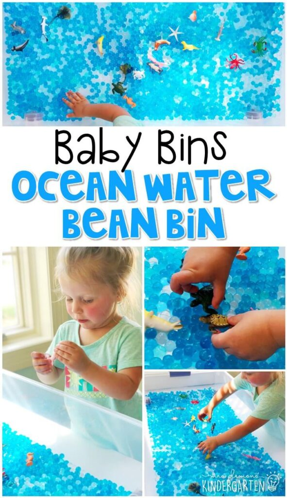 This ocean water bead sensory bin is great for exploring ocean animals and concepts. These Baby Bin plans are perfect for learning with little ones between 12-24 months old.