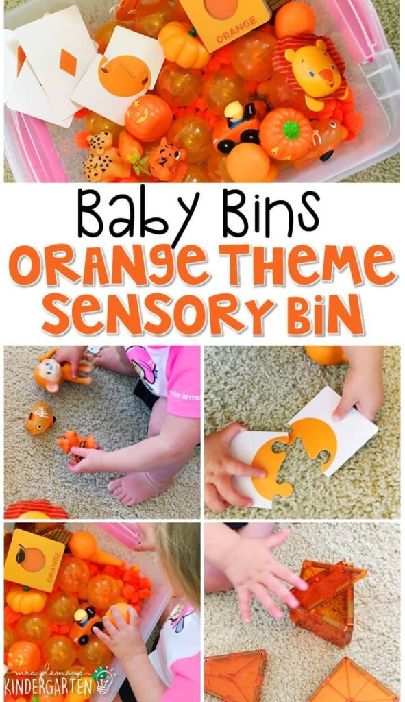 This felt pumpkin threading activity is great for a orange theme and is completely baby safe. These Baby Bin plans are perfect for learning with little ones between 12-24 months old.