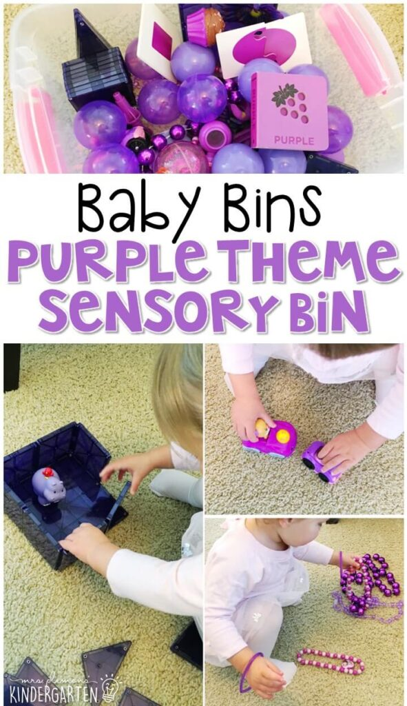This purple themed sensory bin is great for learning colors and is completely baby safe. These Baby Bin plans are perfect for learning with little ones between 12-24 months old.
