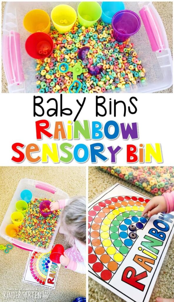 This rainbow themed sensory bin is great for learning colors and sorting and is completely baby safe. These Baby Bin plans are perfect for learning with little ones between 12-24 months old.