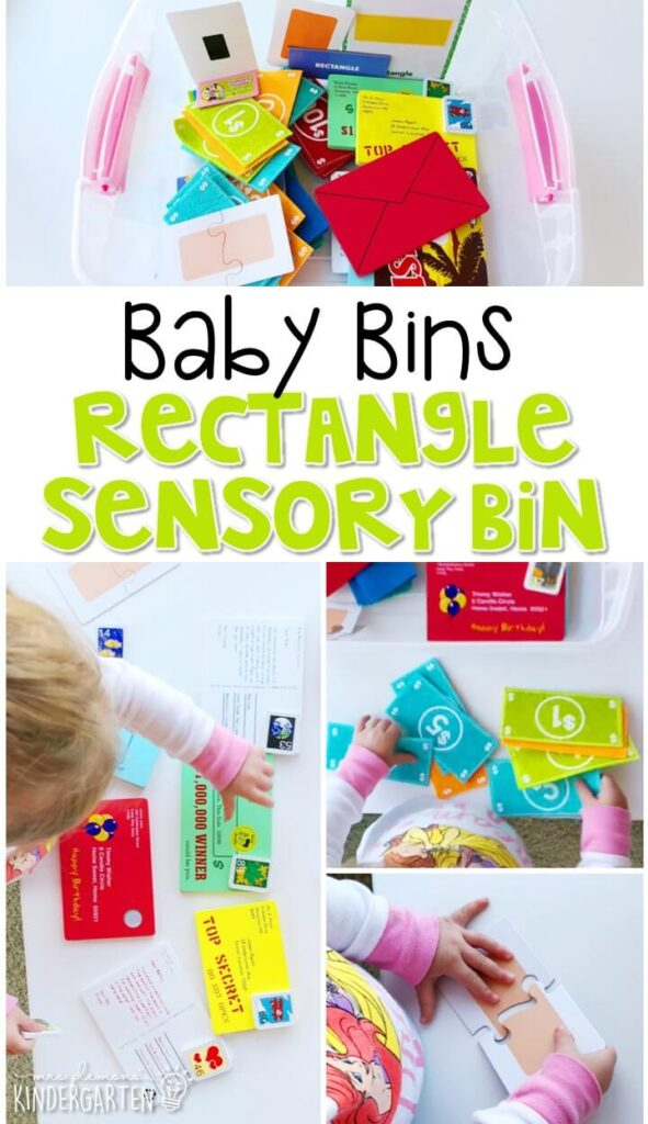 This rectangle themed sensory bin is great for exploring shapes and is completely baby safe. These Baby Bin plans are perfect for learning with little ones between 12-24 months old.
