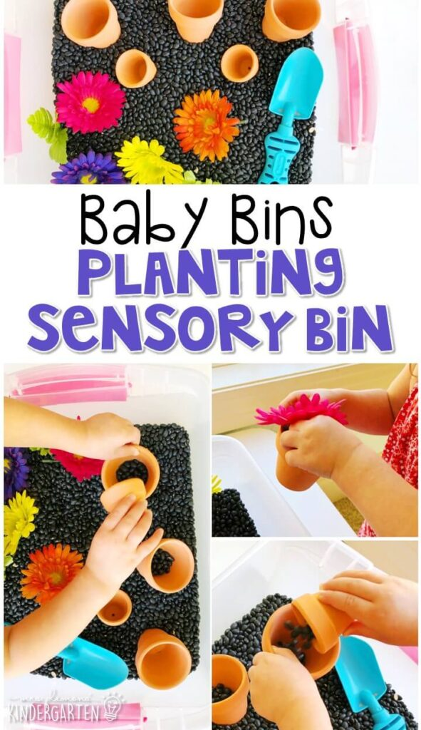This planting sensory bin is great for learning about spring and is completely baby safe. These Baby Bin plans are perfect for learning with little ones between 12-24 months old.