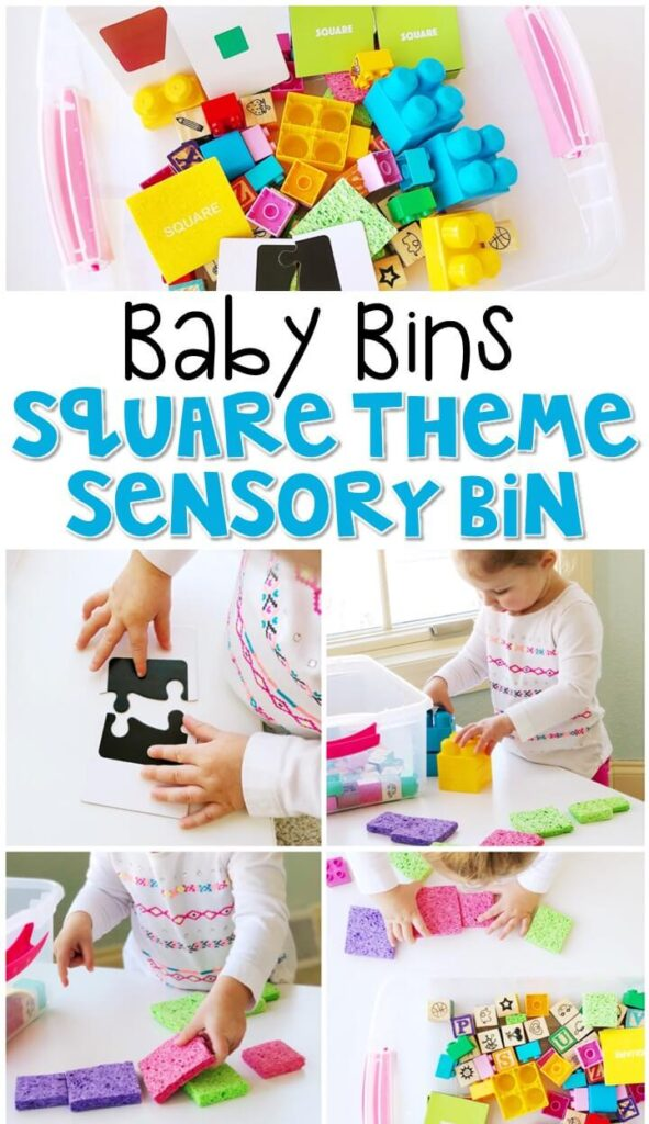 This square themed sensory bin is great for exploring shapes and is completely baby safe. These Baby Bin plans are perfect for learning with little ones between 12-24 months old.