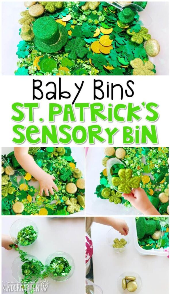 This St. Patrick's Day themed sensory bin is great for exploring the holiday and is completely baby safe. These Baby Bin plans are perfect for learning with little ones between 12-24 months old.