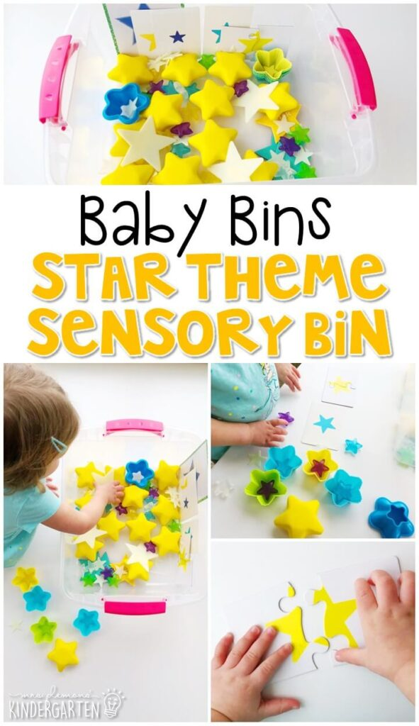 This star themed sensory bin is great for exploring shapes and is completely baby safe. These Baby Bin plans are perfect for learning with little ones between 12-24 months old.