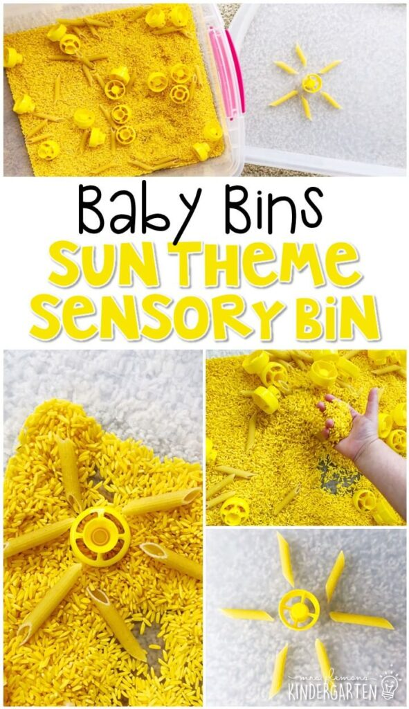 This sun theme sensory bin is great for learning about summer and is completely baby safe. These Baby Bin plans are perfect for learning with little ones between 12-24 months old.