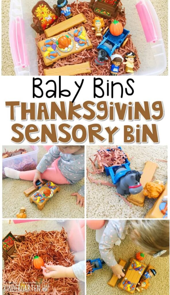 This Thanksgiving themed sensory bin is great for learning about the holiday and is completely baby safe. These Baby Bin plans are perfect for learning with little ones between 12-24 months old.