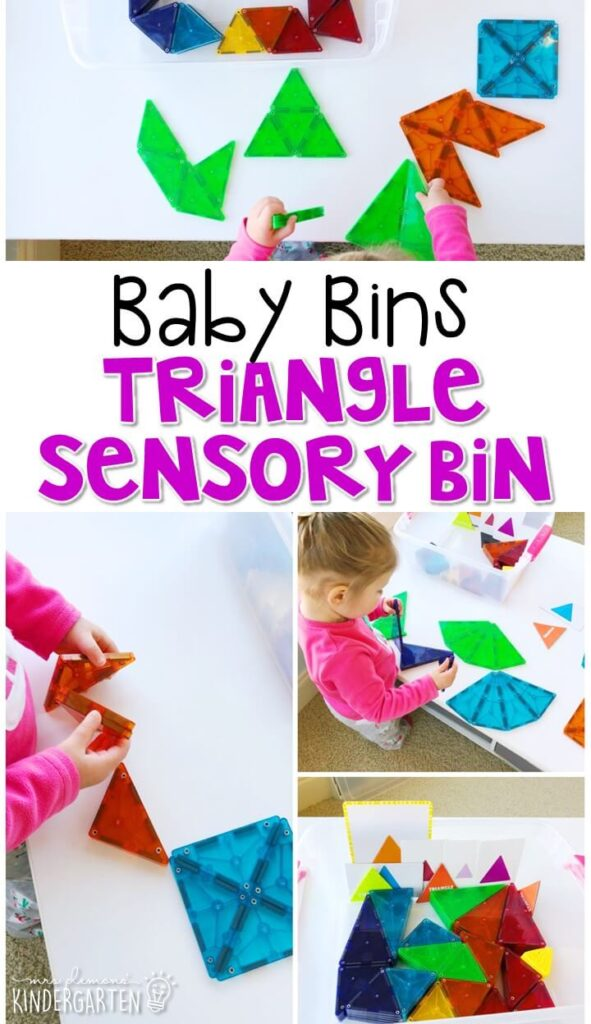 This triangle themed sensory bin is great for exploring shapes and is completely baby safe. These Baby Bin plans are perfect for learning with little ones between 12-24 months old.