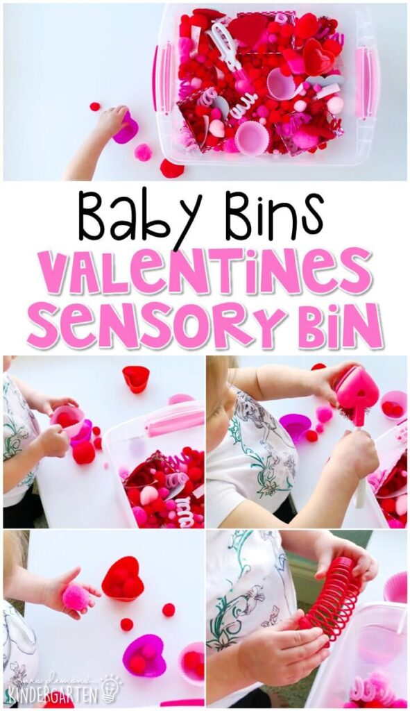 This Valentines themed sensory bin is great for exploring the holiday and is completely baby safe. These Baby Bin plans are perfect for learning with little ones between 12-24 months old.