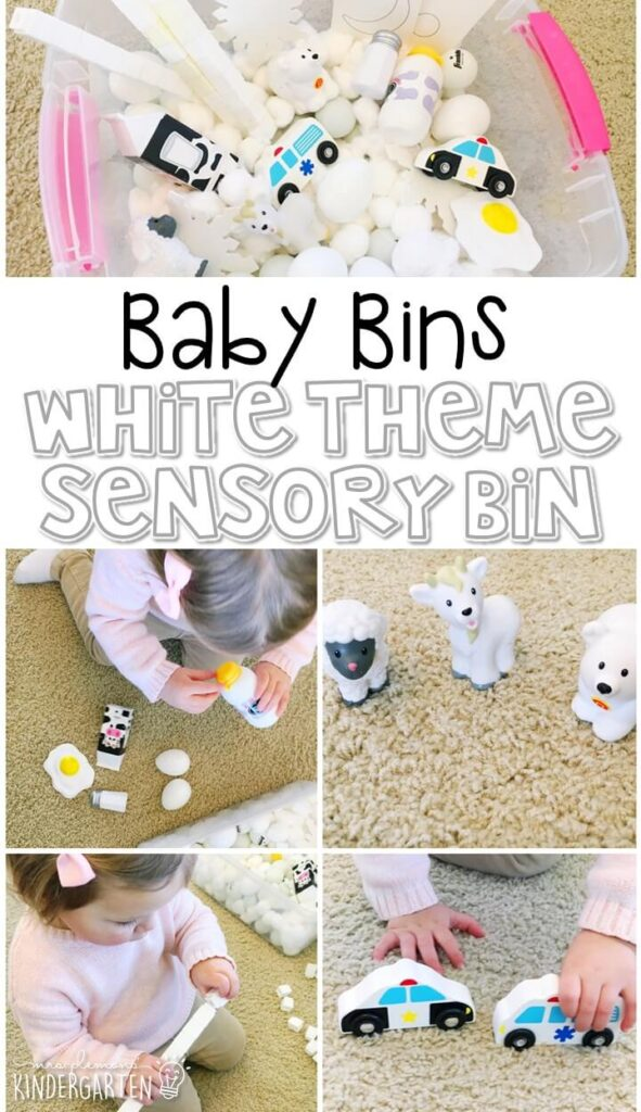 This white themed sensory bin is great for learning colors and is completely baby safe. These Baby Bin plans are perfect for learning with little ones between 12-24 months old.