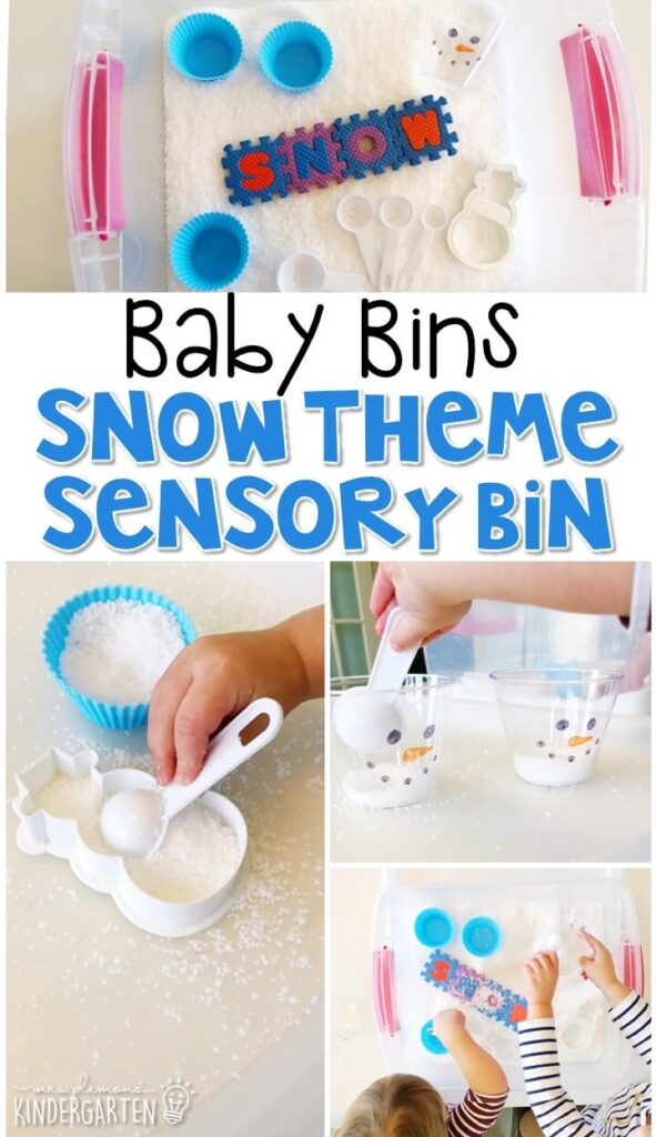 This snow themed sensory bin is great for learning about winter and playing in the snow. These Baby Bin plans are perfect for learning with little ones between 12-24 months old.