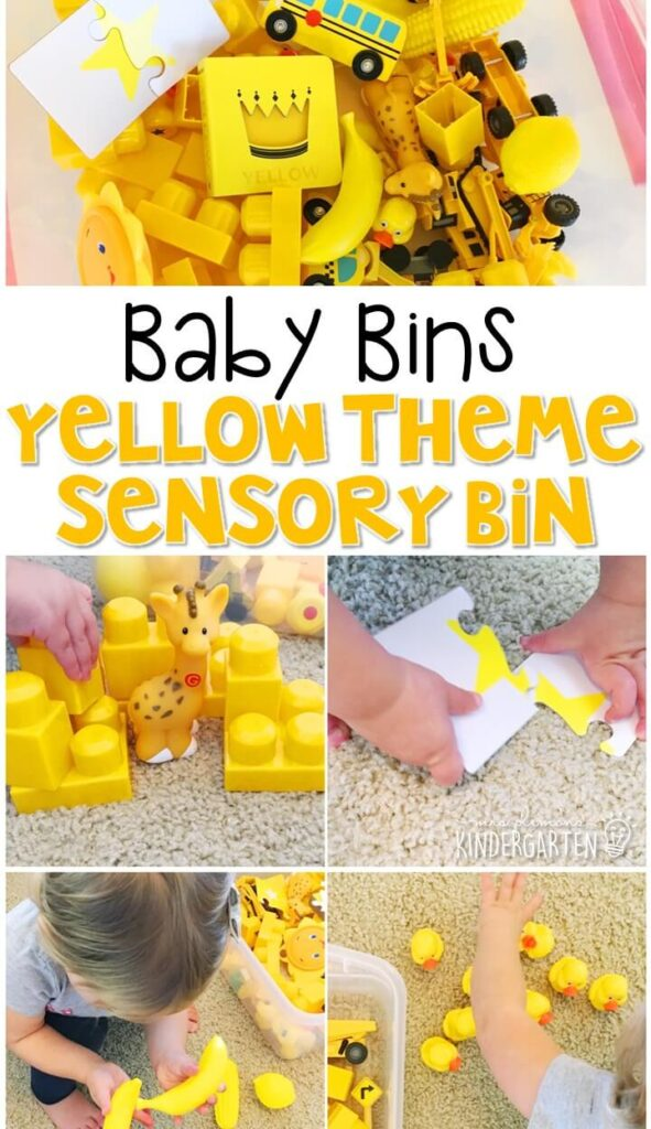 This yellow themed sensory bin is great for learning colors and completely baby safe. These Baby Bin plans are perfect for learning with little ones between 12-24 months old.