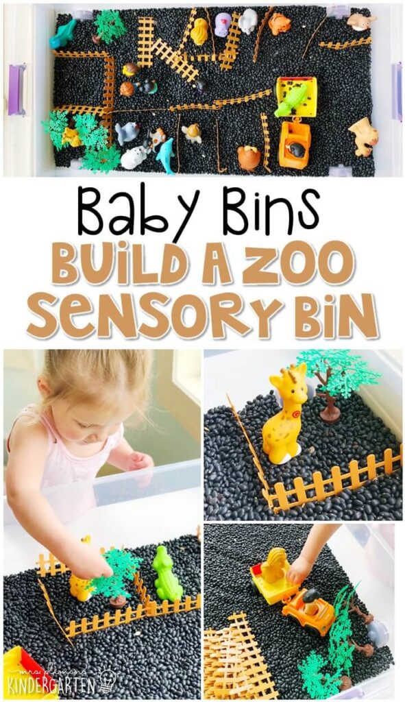 This build a zoo sensory bin is so much fun to pretend and play with and is completely baby safe. These Baby Bin plans are perfect for learning with little ones between 12-24 months old.