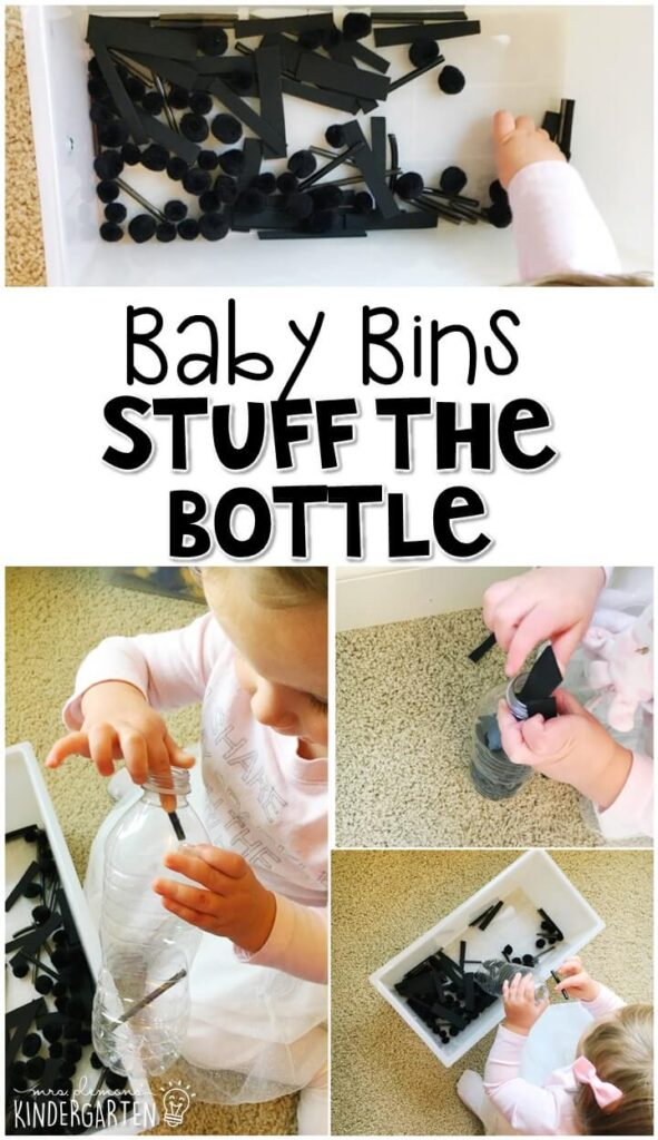 This stuff the bottle activity activity is great for building fine motor skills and is completely baby safe. These Baby Bin plans are perfect for learning with little ones between 12-24 months old.