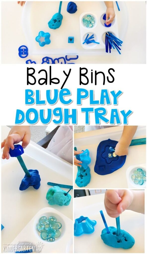 This blue play dough tray is great for a blue theme and is completely baby safe. These Baby Bin plans are perfect for learning with little ones between 12-24 months old.