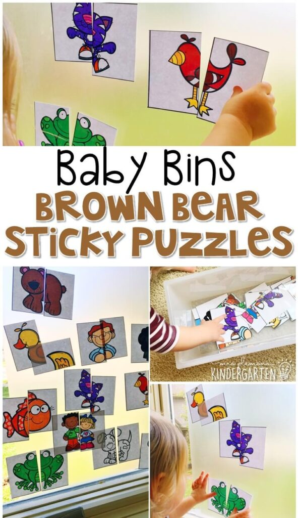 These Brown Bear sticky puzzles are great for building fine motor skills and completely baby safe. These Baby Bin plans are perfect for learning with little ones between 12-24 months old.