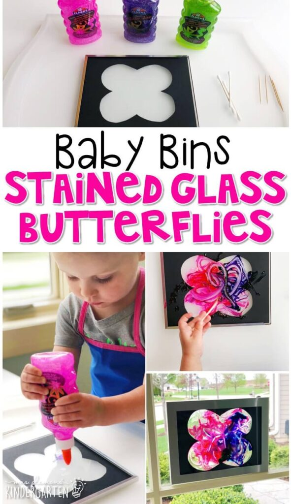 This stained glass butterfly activity is great for fine motor practice and always turns out adorable. Baby Bins are perfect for learning with little ones between 12-24 months old.